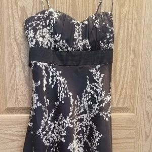 Black and white floral print party dress